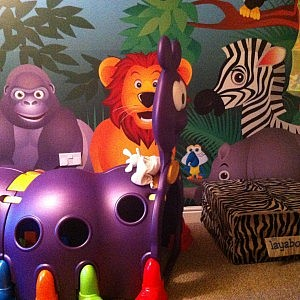 Junior Ro-Ro fitting in well in the Jungle Themed playroom